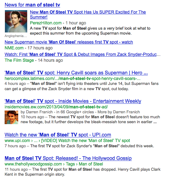 "Newsfeed when googling ""Man of Steel TV"""